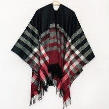 купить Bohemian Women's Autumn Winter Poncho Ethnic Plaid Scarf Fashion Blanket Scarves Lady Knit Tassel Shawl Thick Femme Pashmina по цене 1717.93 рублей