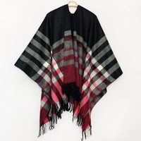 Bohemian Women's Autumn Winter Poncho Ethnic Plaid Scarf Fashion Blanket Scarves Lady Knit Tassel Shawl Thick Femme Pashmina