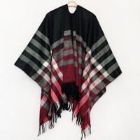 Bohemian Women's Autumn Winter Poncho Ethnic Plaid Scarf Fashion Blanket Scarves Lady Knit Tassel Shawl Thick Femme Pashmina