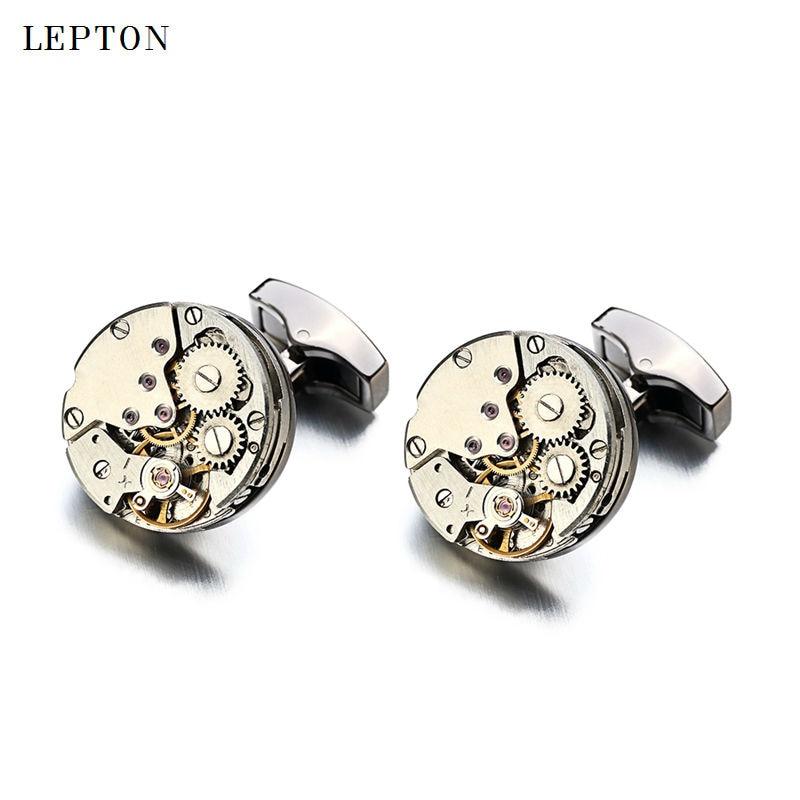 2017 manset pergerakan jam tangan baru dari Lepton Stainless Steel Steampunk Gear Watch Mechanism Cuff pautan untuk Mens gemelos