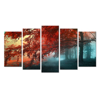 Large Multi Panels Giclee Prints Wall Art Red Maple Trees Forest Autumn Landscape Painting Print Canvas