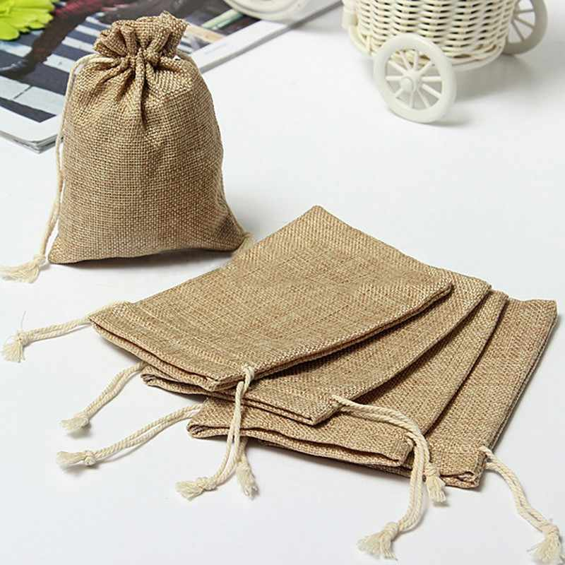 Hot Sale New Linen Jute Drawstring Gift Bags Sacks Party Favors Packaging Bag Wedding Candy Gift Bags party Supplies