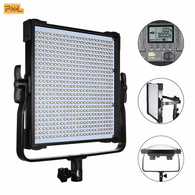 Pixel P45C LED Video Light Adjustable Color Temperature 3000K-8000K LCD Display for Canon Nikon Sony DSLR Camera DV Camcorder