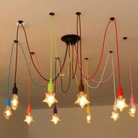 Colorful Silicone Pendant Lights E27 Holder DIY Design Creative Pendant Lamps 200cm Cord Ceiling Base