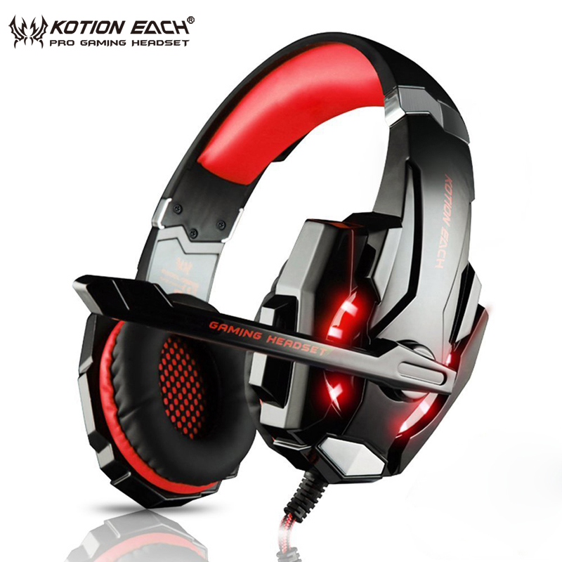 KOTION EACH G9000 Gaming Headphones Noise Cancelling Headsets With Microphone LED Light Mic Headphone For Laptop PC Computer PS4 somic g936 usb wired gaming headphone 7 1virtual with microphone headsets for pc for ps4 enc noise cancelling multimode switch