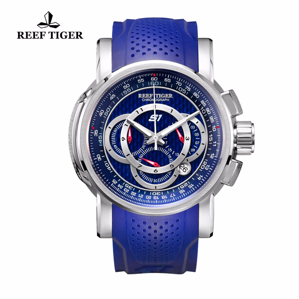 Reef Tiger/RT Mens Sport Watch with Chronograph Date 316L Steel Rubber Strap Quartz Watches Big Blue Watches RGA3063 2017 reef tiger rt mens designer chronograph watch with date calfskin nylon strap luminous sport watch rga3033
