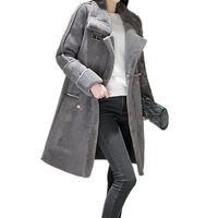 2017 Winter Jacket Women Thicken Warm Elegant Lambs Wool Suede Jacket Long Cotton Wadded Parka Manteau