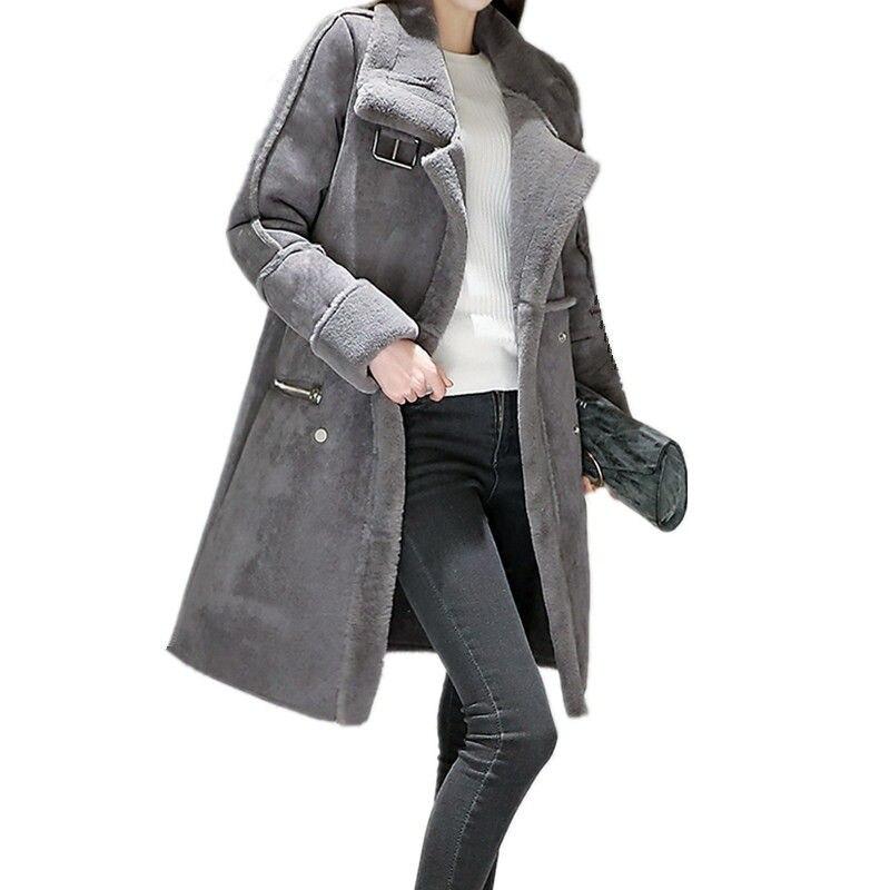 2018 Veste D'hiver Femmes Épaissir Chaud Élégant Laine D'agneau Velours Veste Longue Coton Ouatée Parka Manteau Femme Manteau D'hiver C3626