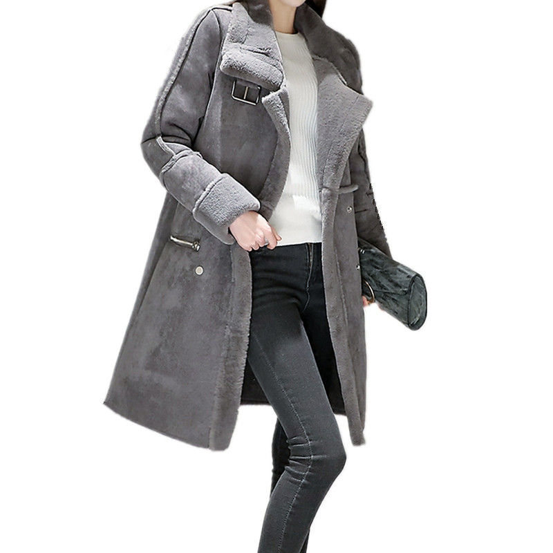 2019 Winter Jacket Women Thicken Warm Elegant Lambs Wool Suede Jacket Long Cotton Wadded   Parka   Manteau Femme Winter Coat C3626