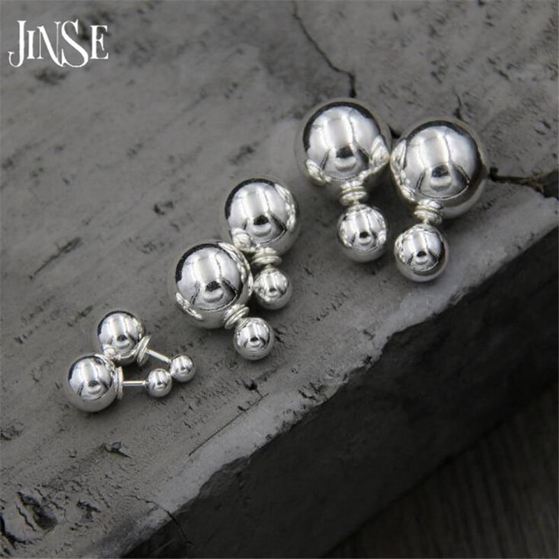 JINSE 100% 925 Sterling Silver Trendy Stud Earrings Jewelry Double Balls Earrings for Women Fashion Jewelry Gift 8mm 12mm 14mm недорго, оригинальная цена