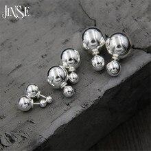 JINSE 100% 925 Sterling Silver Trendy Stud Earrings Jewelry Double Balls Earrings for Women Fashion Jewelry Gift 8mm 12mm 14mm