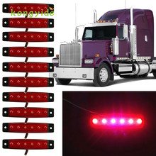 Car Styling 2017 AUTO 10x 6 LED Bus Clearance Trailer Tail Lights Rear Turn Signal Truck