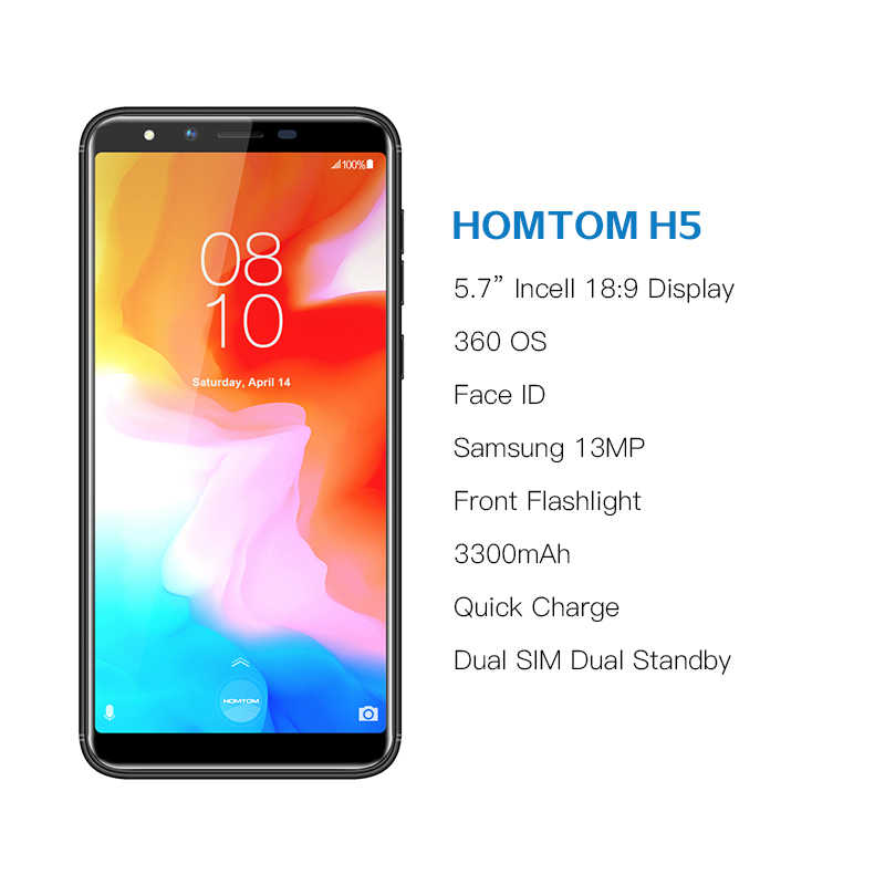 "HOMTOM H5 3 GB 32 GB teléfono móvil 3300 mAh carga rápida Android8.1 5,7 ""cara ID 13MP Cámara MT6739 teléfono Inteligente cuatro núcleos 4G FDD-LTE"