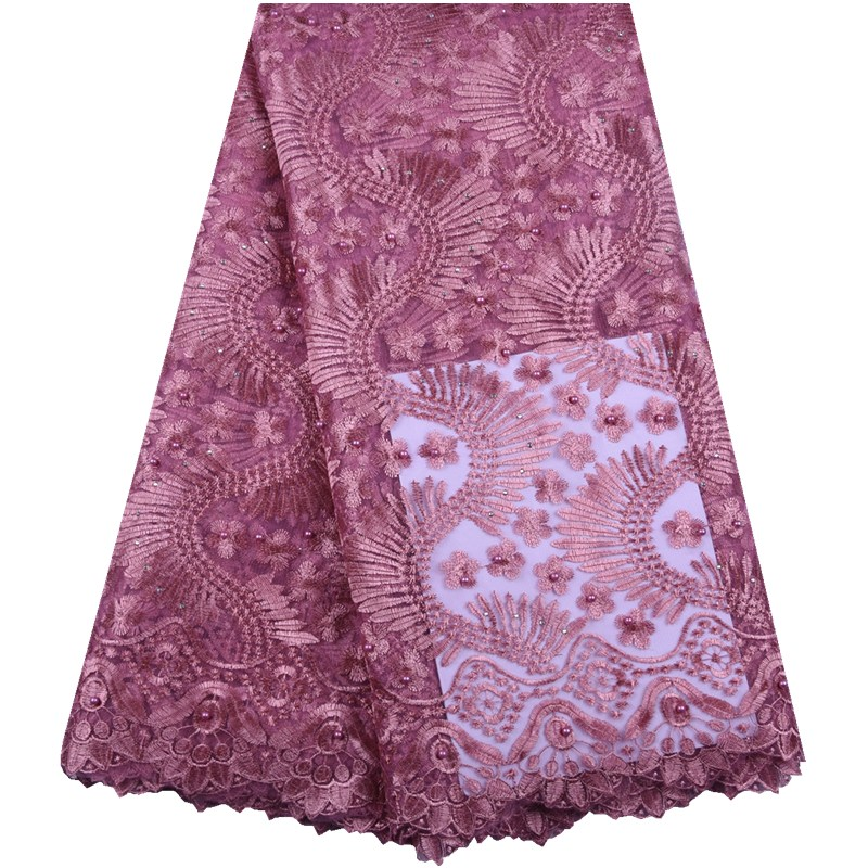 High Quality Nigerian Lace Fabrics Onion Color French Net Lace Fabric Embroidered African Tulle Mesh Lace