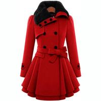 Women Wool Blends Coats 2017 Autumn Winter New Fashion Double Breasted Cotton Loose Coat Woman Elegant