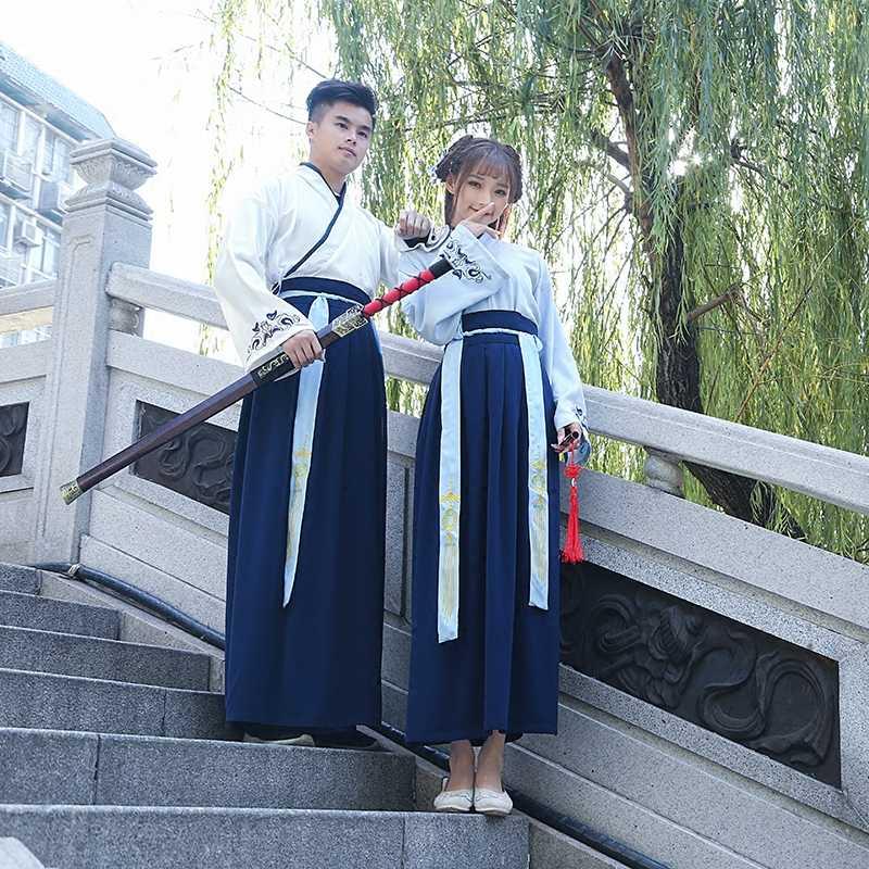 Tradizionale Cinese Folk Dance Costume Antico Dinastia Degli Uomini Delle Donne Del Han Spadaccino Intrattenimento Musiche E Canzoni del Vestito Della Principessa Della Signora Dinastia Tang Abbigliamento
