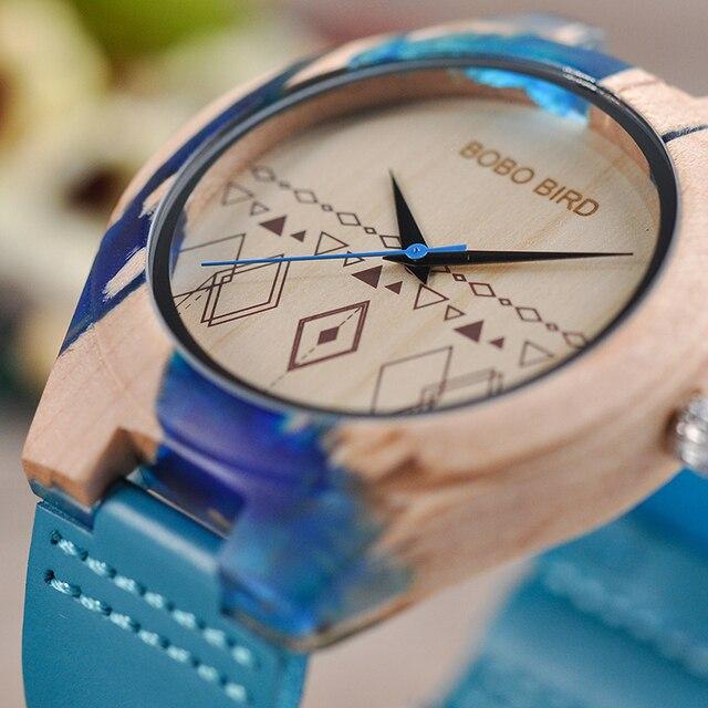 Reloj de madera y resina pulso cuero 2