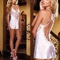 Mulheres Sexy Lingerie Babydoll Chemise Vestido de Pijama Sleepwear Nightwear Laço de Cetim