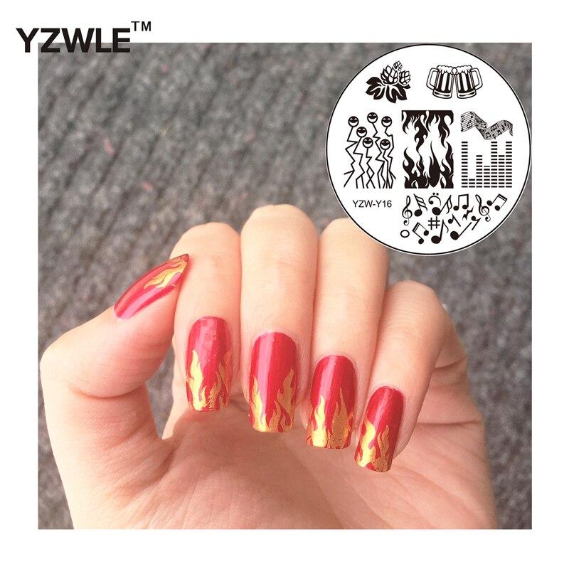 YZWLE 1 Unidades Nail Art Imagen Placas Estampación Sello Fuego Nota Patrón Pola