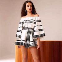 2019 Spring New Arrival Women Jumpsuits Playsuits Loose Off The Shoulder Sexy Flare Sleeve Fashion Streetwear Women Rompers