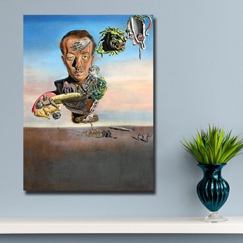 Wxkoil Salvador Dali  Portrait of Paul Eluard Canvas Wall Pictures for Living Room Office Bedroom Modern Canvas Oil Painting 2
