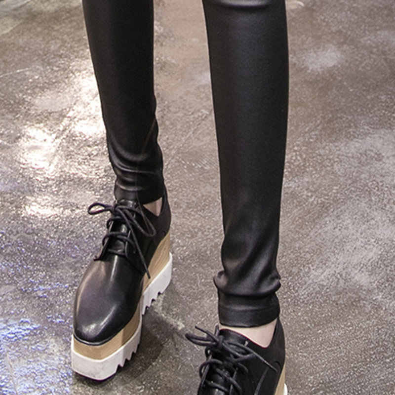 PU Leggings De Couro Das Mulheres Outono Além de Veludo Calças Lápis Mulheres Magras Legging Plus Size Mulheres Cintura Alta Leggings C4663