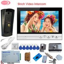 "9 ""Color Video Intercom Videophone With Metal Waterproof Camera Condo Intercom Video Door Phone Set + Rfid Cards Electronic Lock"