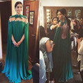 Sexy Verde Dubai Musulmana Vestido de Noche 2017 de Cuello Alto Del Cabo Barrer de Tren Ocasión Especial Vestido de Partido Largo Del Vestido Más El Tamaño