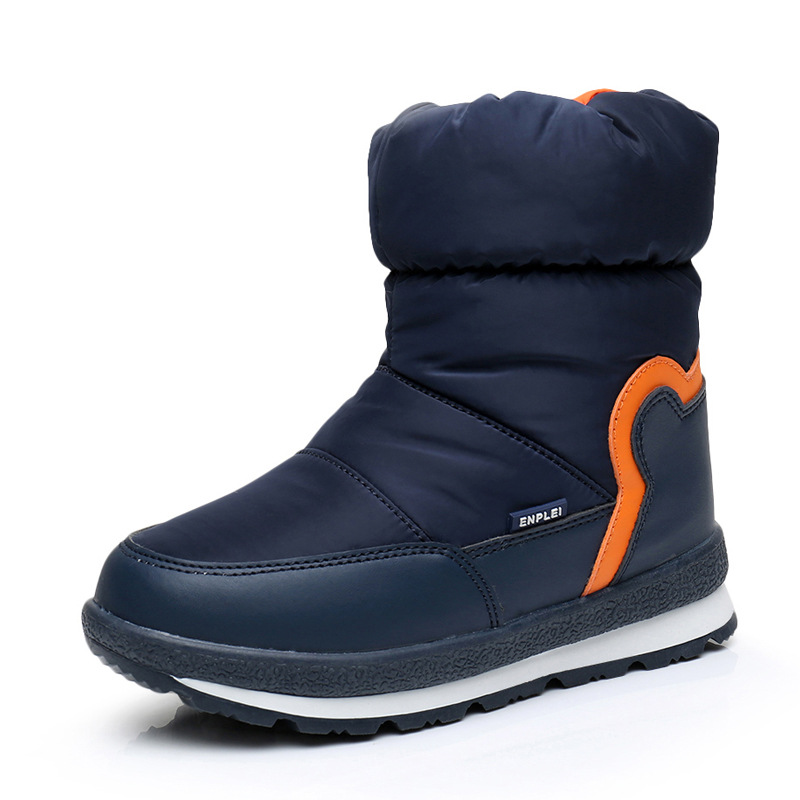 Childrens winter cotton boots medium tube waterproof slip proof cold proof suede childrens shoes skiing boots