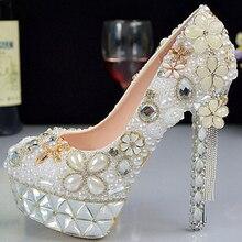 Princess pearl rhinestone wedding shoes stiletto platform crystal flower bridal shoes bridesmaid shoes