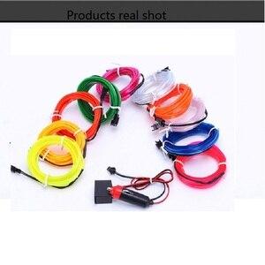 Image 1 - 12В USB автомобильная полоса света Гибкий EL провод авто Внутреннее освещение веревка трубка Линия гибкий неоновый свет с приводом сигареты 1 м/2 м/3м