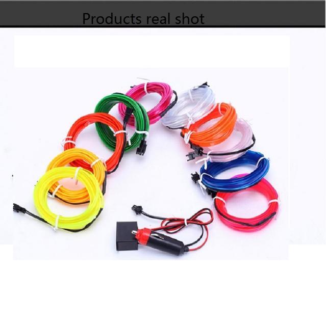 12V USB Car Interior Lighting Auto LED Strip 1M/2M/3M/4M/5M EL Wire Rope Tube Line flexible Neon Light With Cigarette Drive