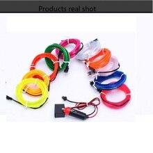 12V USB Car Strip Light Flexible EL Wire Auto Interior Lighting Rope Tube Line flexible Neon Light With Cigarette Drive 1M/2M/3M