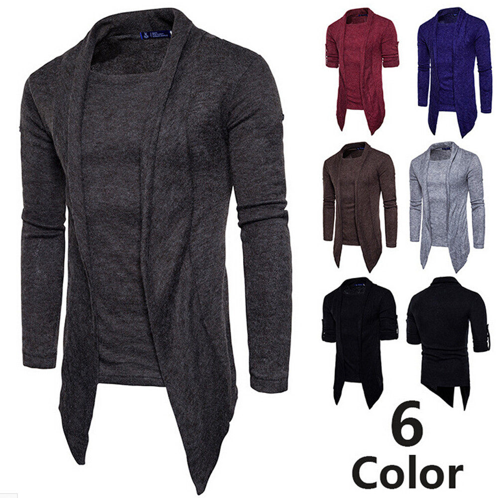 Autumn Winter Men's Sweater Coat Men Casual Personality Fake Two Pure Color Pullover Sweaters Top кофта женская свитер женский