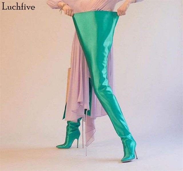 915b6773493 NEW Woman Extreme Long Waist High Boots Fluorescence Color Stretch Satin  Thin High Heels Pointed toe Stage Long Botas Shoes