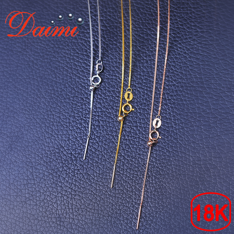 DAIMI 18K Love Design Button White/Yellow/Rose Gold Chain 1.13g Pure Gold Necklace Chain Adjustable Necklace Chain Jewelry Gift yoursfs heart necklace for mother s day with round austria crystal gift 18k white gold plated