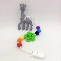 New Silicone Teething Pacifier Clip With Large Deer Pendant Flower Chew Bead Food Grade Silicone Teething