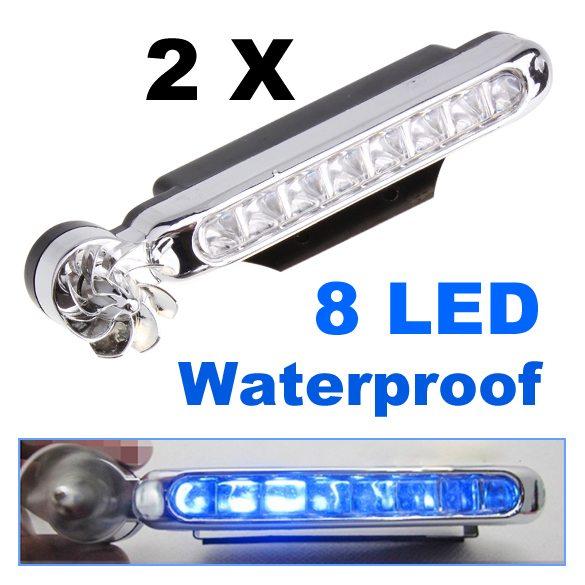 2 Pcs 8-LED Blue Auto Car Truck Motorcycle Wind Power Day Fog Driving Light Lamp ALI88