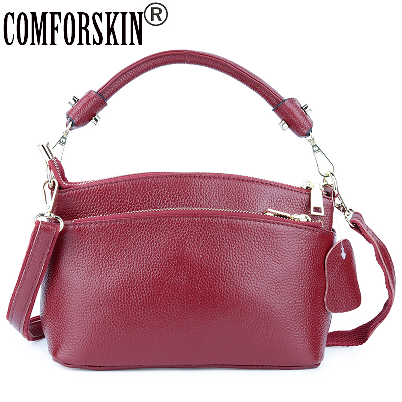 ef26b8d9e COMFORSKIN Premium 100% Couro Do Couro Grande Capacidade Ladies Messenger  Bags New Arrivals Multi-