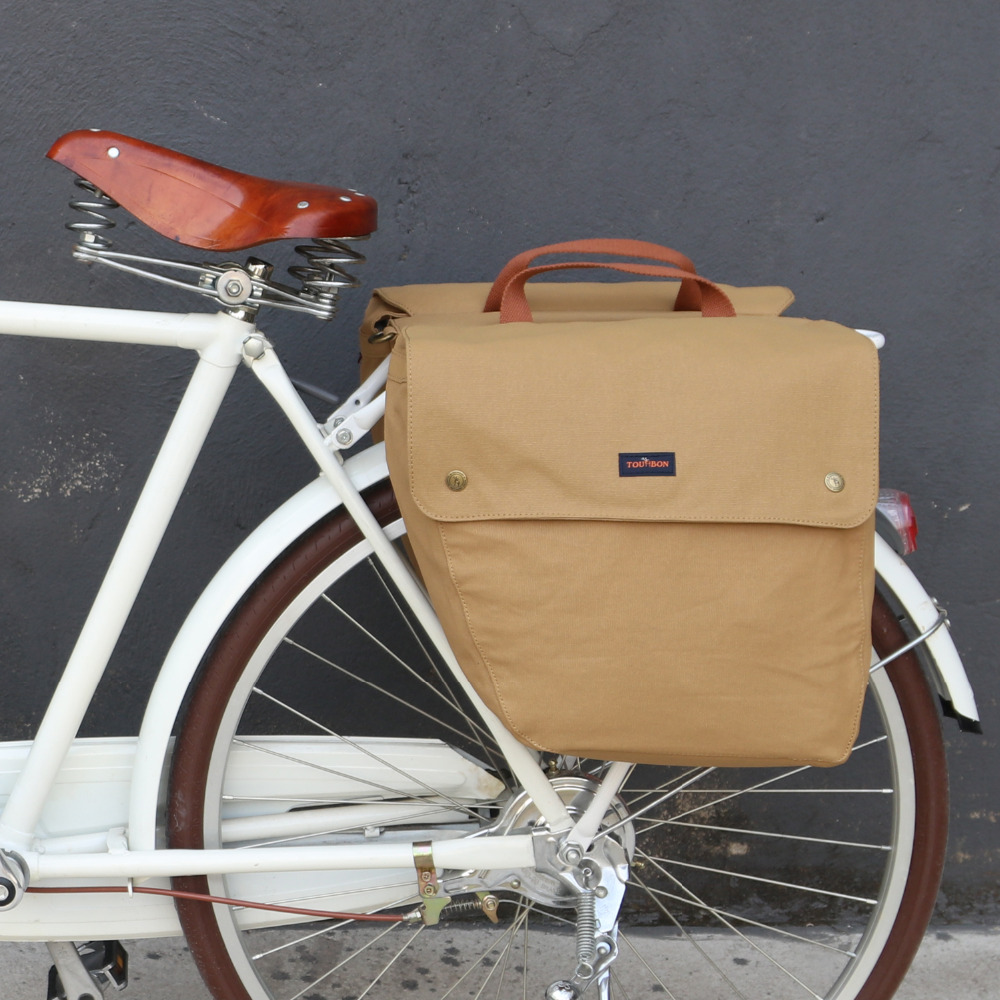 Tourbon Vintage Waterproof Canvas Bicycle Pannier Bag 23L Cycling Bike Back Seat Rear Rack Trunk Two Storage Bags Retro rockbros 20l bike bag waterproof cycling bicycle rear rack bag tail seat trunk bags pannier big basket case mtb bike accessories