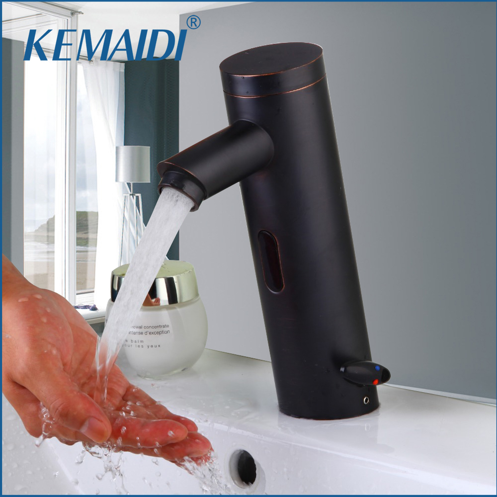 KEMAIDI Oil Rubbed Bronze Automatic Sensor Hand Free Waterfall Bathroom Basin Sink Faucet Hot And Cold Mixer Tap Sense Faucets brass automatic sensor faucets cold and hot water mixer sense faucet basin hand washer deck mounted faucet