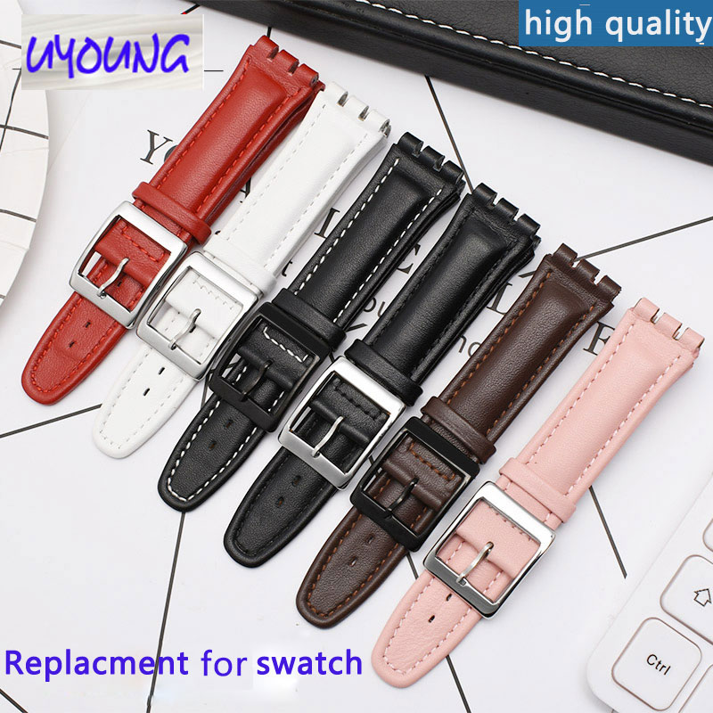 17mm 19mm Bump Interface Leather Watch Chain Applicable For Swatch YCS YRS YGS Strap Gift Watch Band
