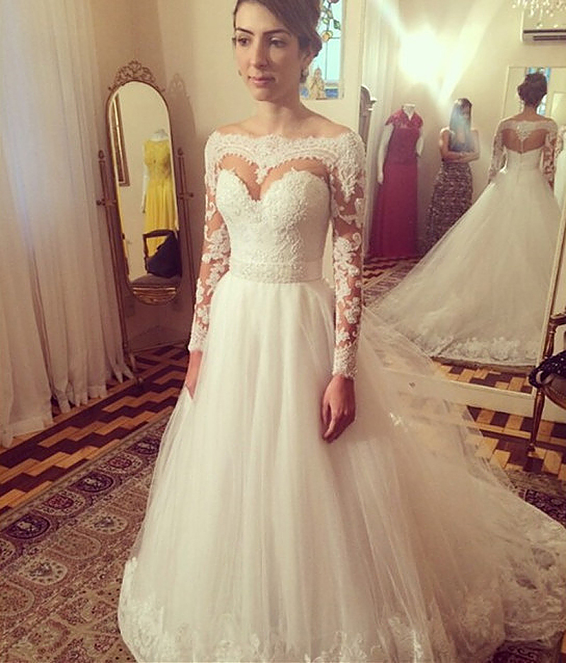A line off shoulder lace appliques sexy backless wedding for Long sleeve white lace wedding dress