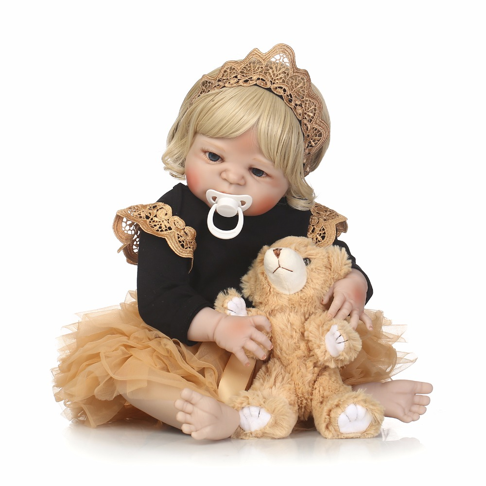 55cm Full Silicone Bebe Reborn Baby Girl Realistic 22 Vinyl Newborn Baby Toddler Doll Blonde Hair Waterproof Body Bathe Toy55cm Full Silicone Bebe Reborn Baby Girl Realistic 22 Vinyl Newborn Baby Toddler Doll Blonde Hair Waterproof Body Bathe Toy
