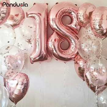 40 letter balloons gold rose pink  Number Balloons birthday party decorations kids Air ball figure anniversaire