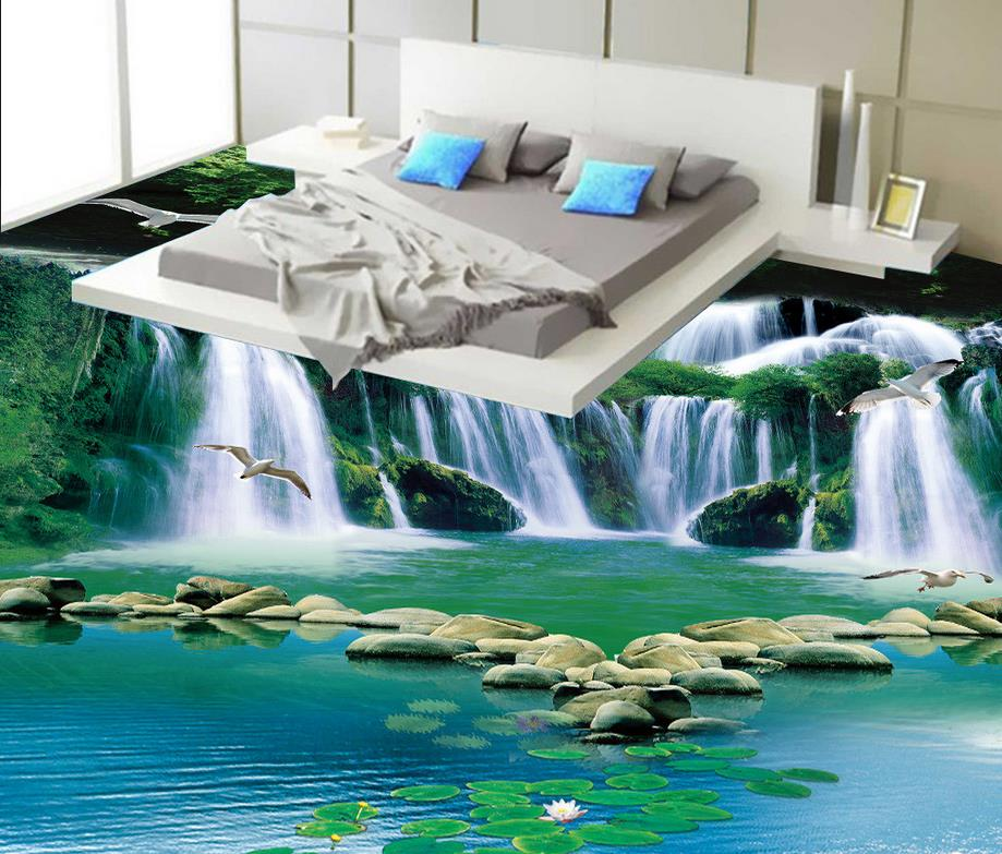 buy 3d stereoscopic wallpaper floor 3d waterfall flowing forest green bathroom. Black Bedroom Furniture Sets. Home Design Ideas