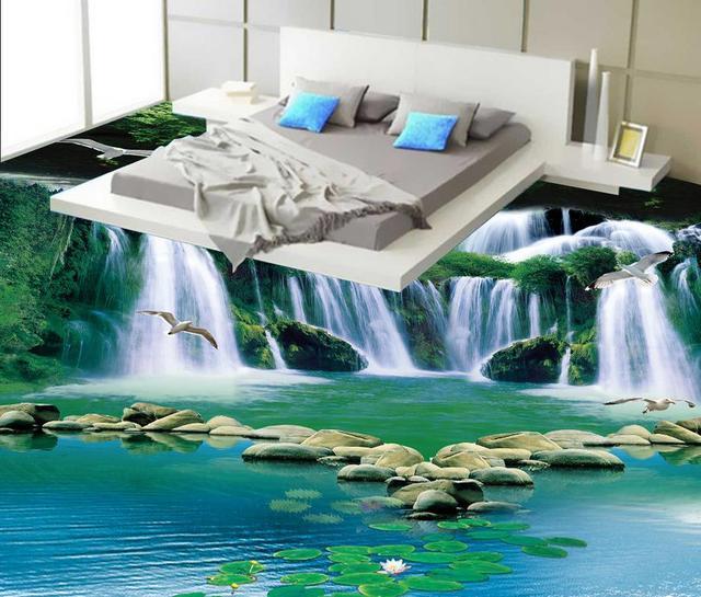Awesome 3D Stereoscopic Wallpaper Floor 3D Waterfall Flowing Forest Green Bathroom  Floor Bedroom PVC Waterproof Floor