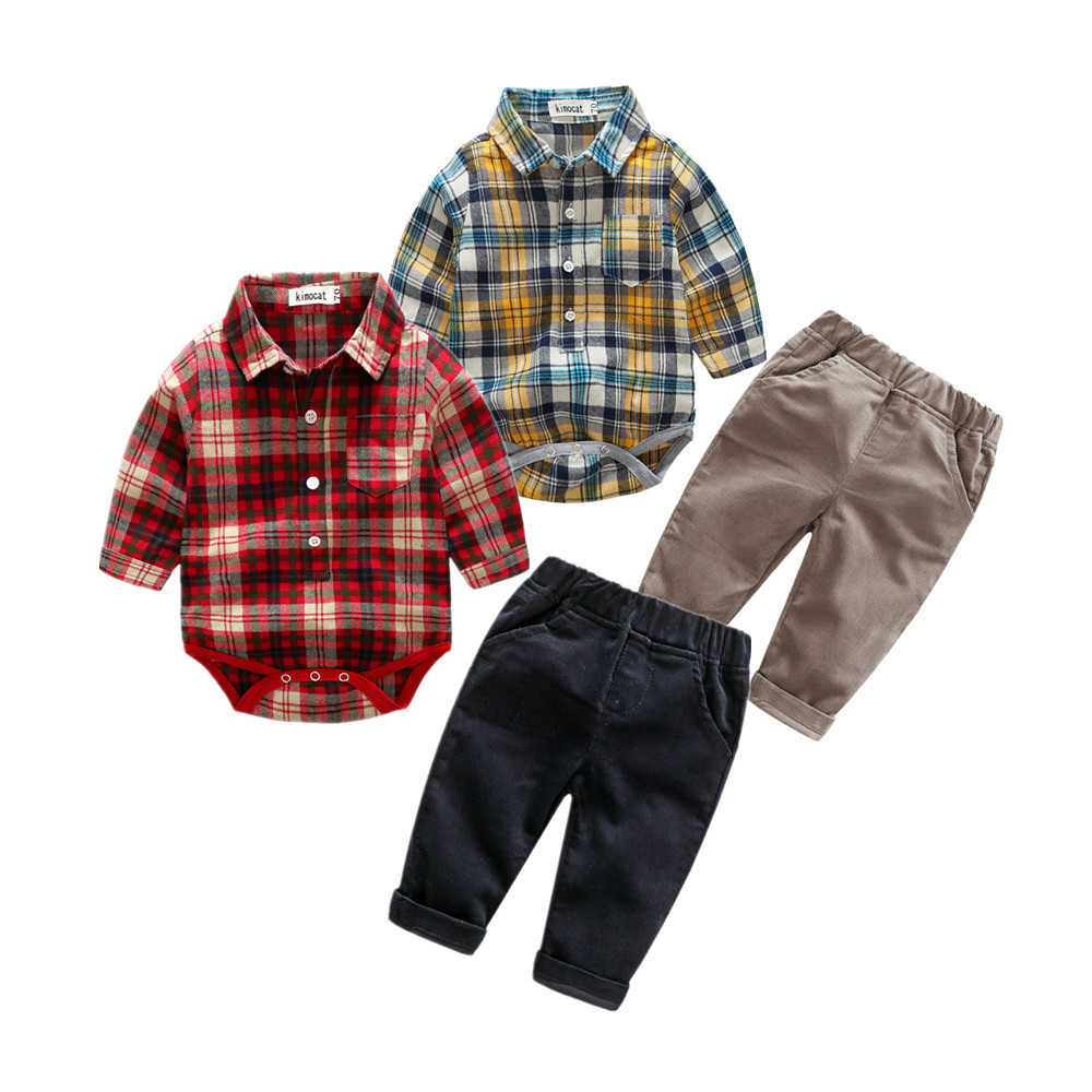 2017 new autumn hot sales of baby boy baby boy casual set long sleeved shirt + trousers 2 PC