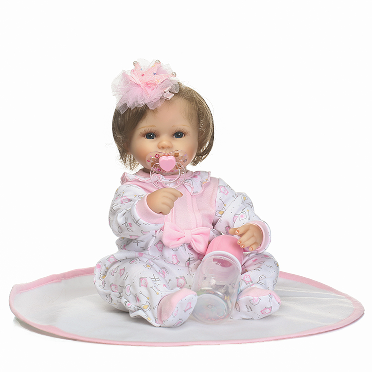 NPKCOLLECTION New Design 18inch 40cm Sweet Reborn Baby Doll with rooted hair very soft touch best gifts for children on Birthday