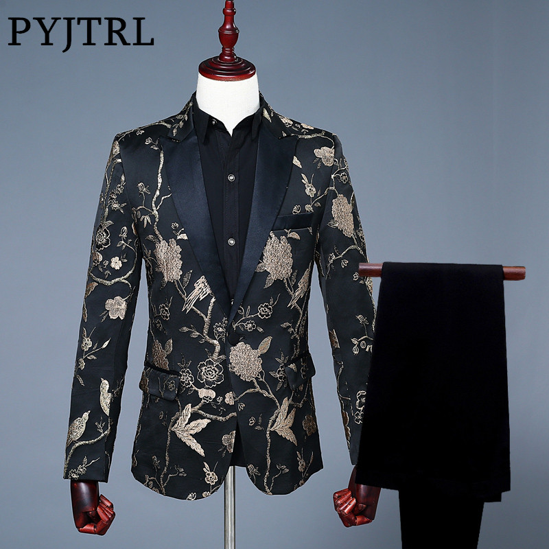 PYJTRL Luxurious Jacquard Embroidery Floral Birds Pattern Suits For Men Wedding Grooms Bridegroom Suit Slim Fit Singer Costume